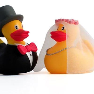 Trouwlocatie Overijssel, eendjes bruid en bruidegom